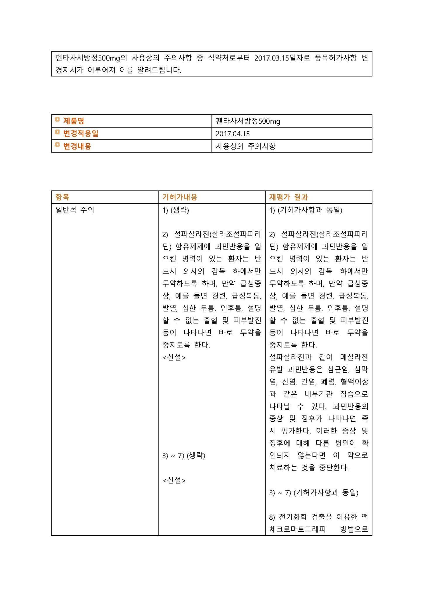 펜타사서방정500mg 변경일 2017.04.15